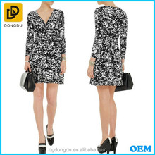 Printed Stretch Jersey Wrap Pictures Office Dress For Ladies