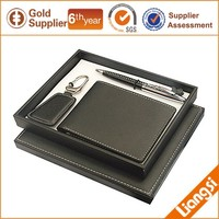 luxury leather men wallet belt christmas new year corporate business gift set