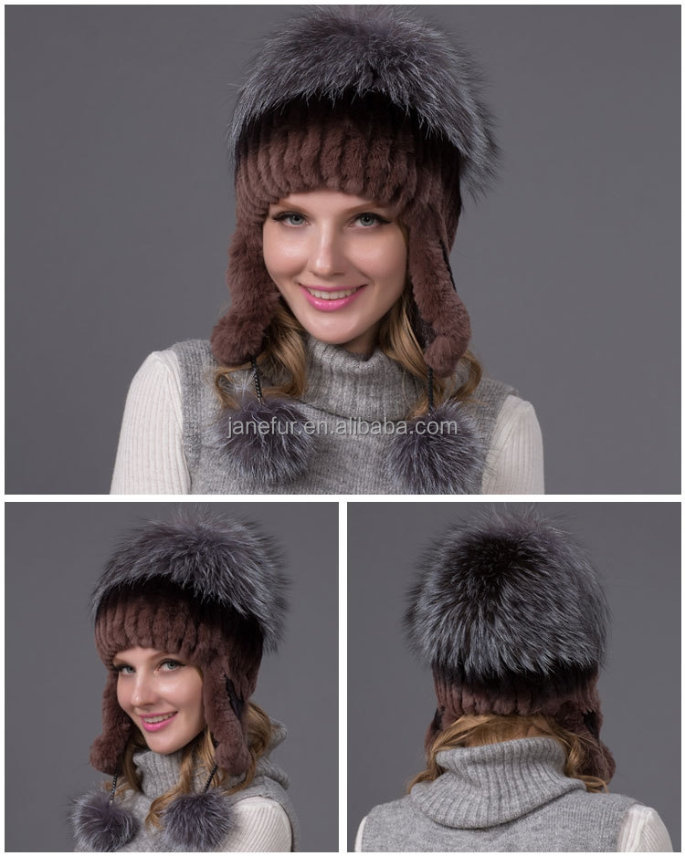 Janefur New Women Real Rex Rabbit Fur Hat Ear Protector Caps Knitted Bomber Hat