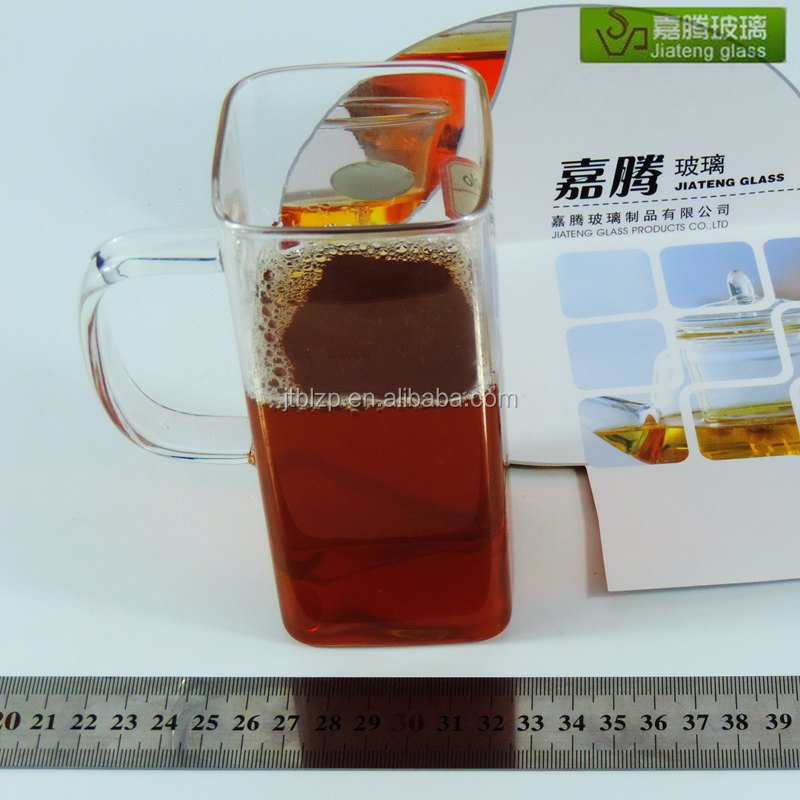 Wholesale handmade unbreakable square drinking glass handle water glass cup / wine glass