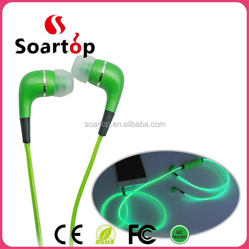 flash light cable led light earphone with phone call, earphone led