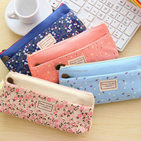Wholesale fresh small flower oxford material two zipper pencil bag pencil case stationery bag