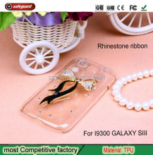 New Arrival Bling Shinny Diamond Transparent Cover 3D Ribbon Rhinestone phone case For I9300 GALAXY SIII