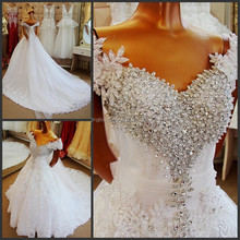 real sample luxury dubai popular design crystal lace skirt bridal wedding dress #OW512