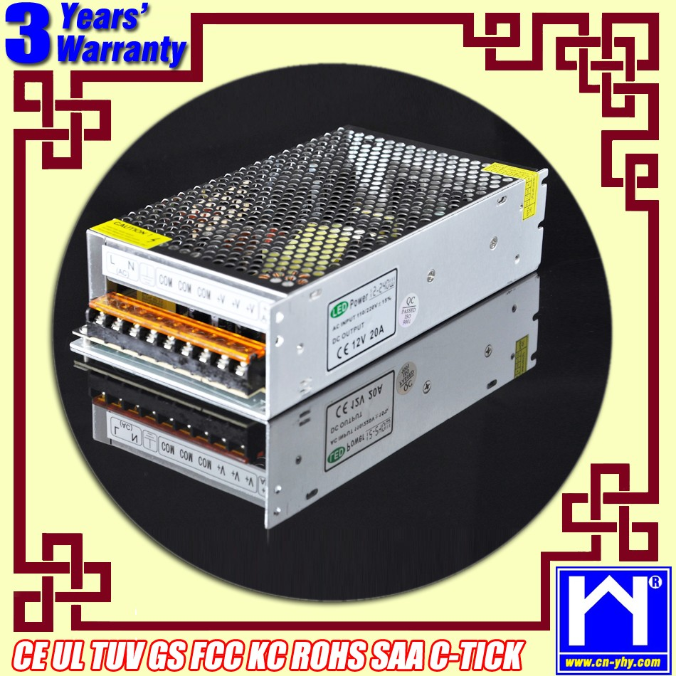 Full range input (from 85 to 250VAC), without voltage selector Output 12VDC 20A power supply