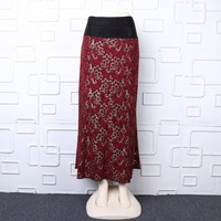 Lurex gold red lace long skirt high waist maxi skirt diamonte beaded plus size skirt