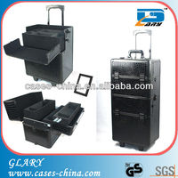 Aluminum make up trolley case,aluminum trolley cosmetic case,roll up cosmetic bag