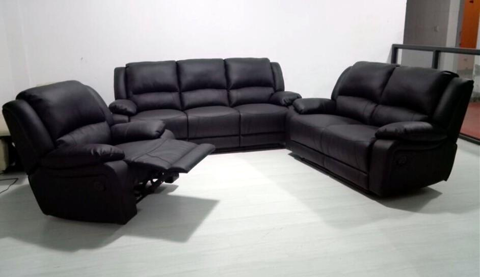 European Design Sofa Black Leather Electric Recliner Sofa