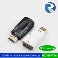 High quality hdmi male to vga female cable with audio hdmi2vga converter cable hdmi to vga with aux for network box
