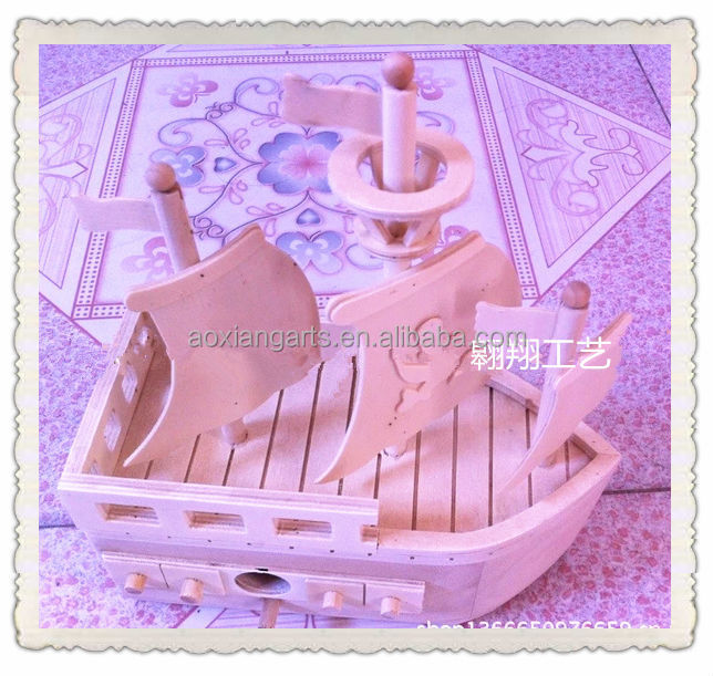china custom wooden boat craft kid toy