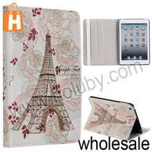 Blooming Flowers+Eiffel Tower Pattern Stand Folio Cover Leather Case for iPad Mini/Retina iPad Mini with Elastic Strap
