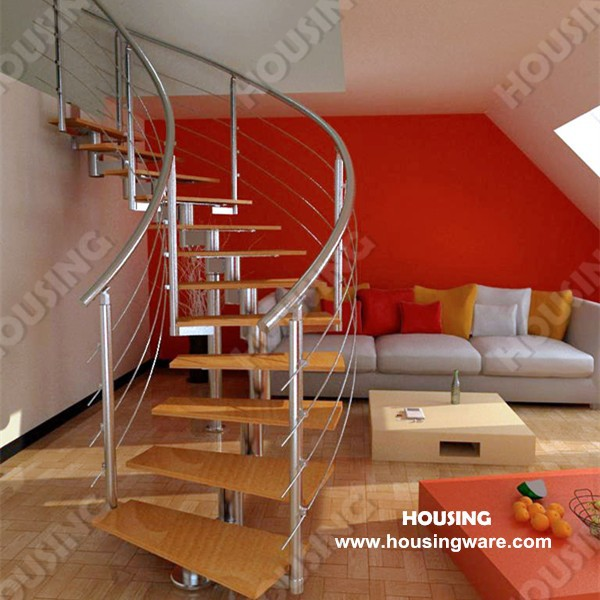 wooden stair with stainless steel railing in low cost