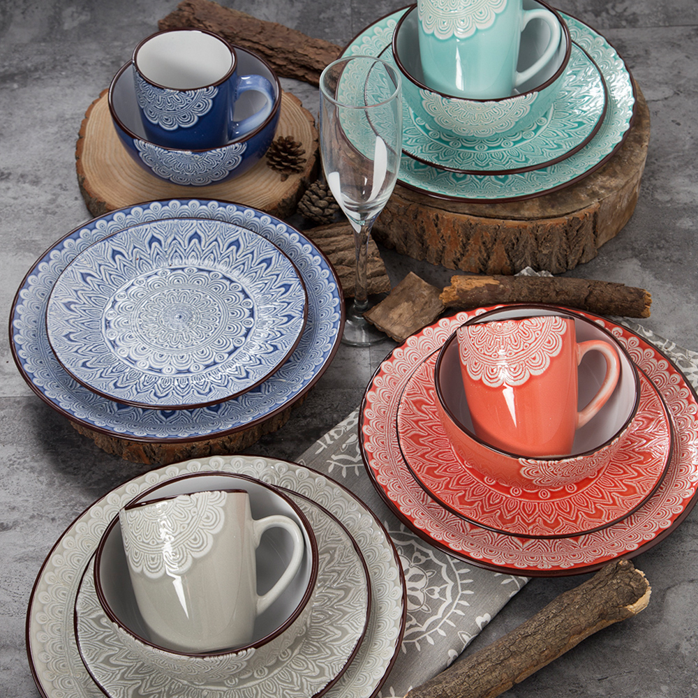The latest popular silk screen solid color crockery dinner sets