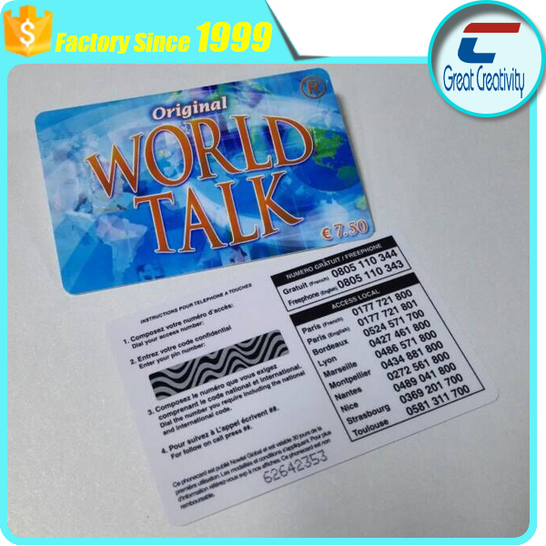 rechargeable application scratch off panel prepaid phone calling recording cards