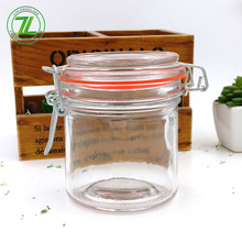 wholesale 300ml canisters 10oz round glass jar with clip lids and silicone seal