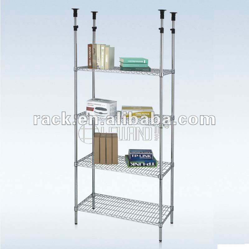 10F - Wholesale Unshakable Chrome Metal Mini Mart Shelving System , NSF Approval