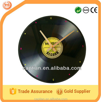 Art tempered glass wall clock with CD design