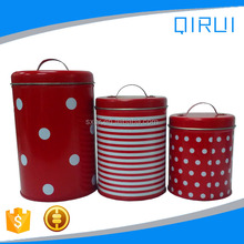 Three sets round biscuit cookie tin box with handle gift tin can