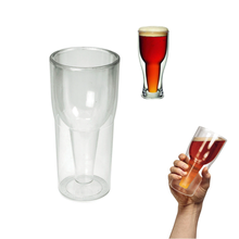 Upside Glass Bottle Shape Double Wall beer mug