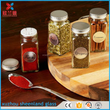 12 Square Glass Spice Bottles Thick Jars with Silver Metal Lids, Shaker Tops, and Labels