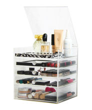 Acrylic Cosmetics Organizer Box with 4 Drawers Clear Acrylic Jewelry Chest with Lid and Drawers