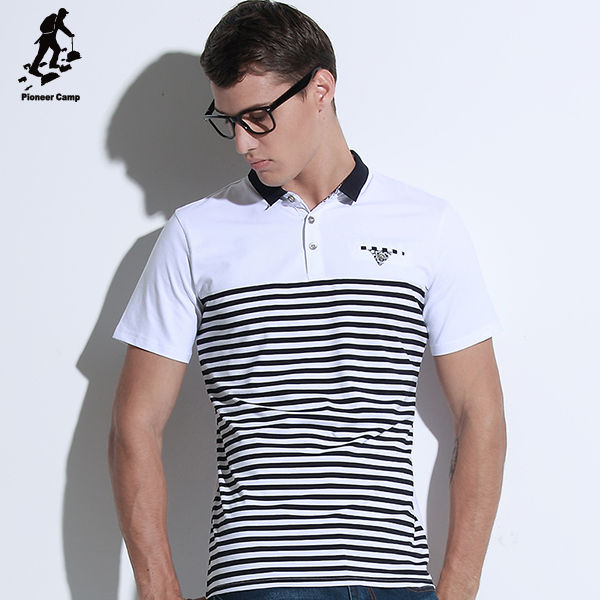 Wholesale brand custom fashion white striped mens bulk polo shirt