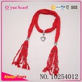 Pure Red Pendants Braid Fashion Gift Scarf