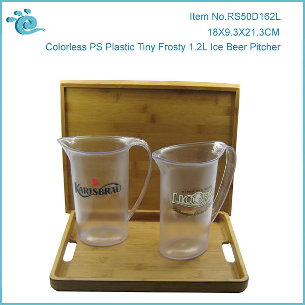 Colorless PS Plastic Tiny Frosty 1.2L Ice Beer Pitcher