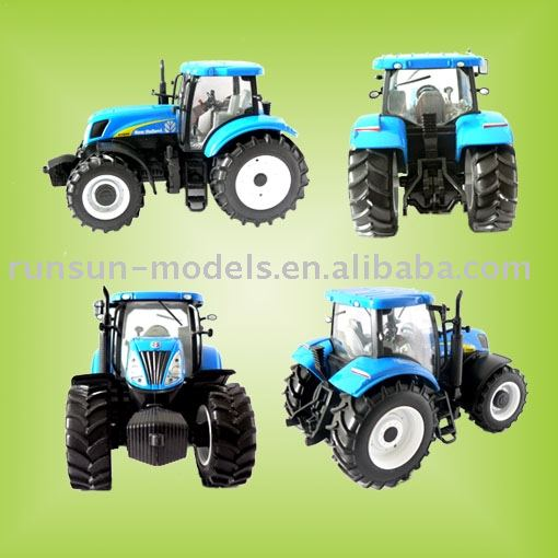 die cast tractor toy with light blue colour
