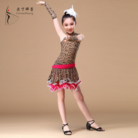 children girl latin dance dress leopard dance dress for kids