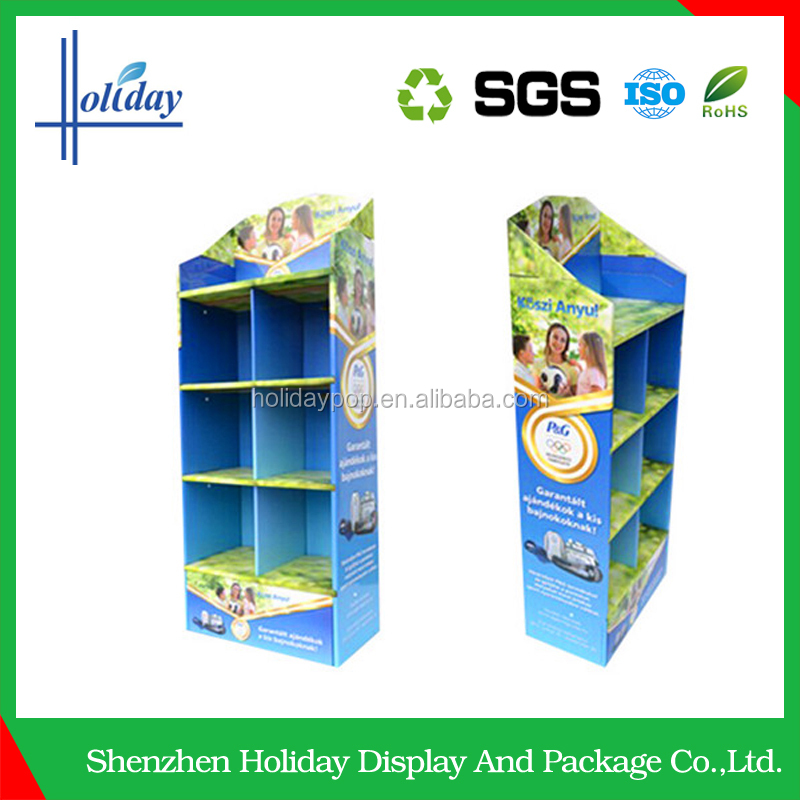 colorful printing tablet cardboard floor display stand