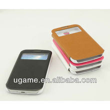 Smart ultra-thin stand leather window view case for samsung galaxy s4 i9500