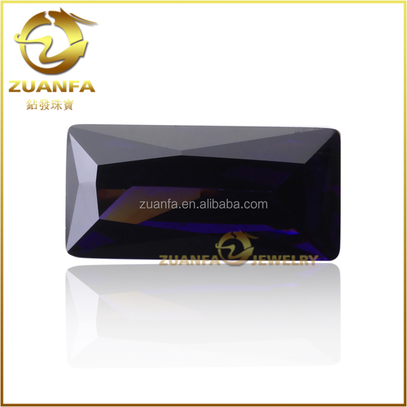 high quality control 3A quality rectangle shaped dark amethyst cz stone