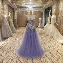 LS09496 O-neck keyhole back sexy lady long lace evening gown formal elegant purple evening gown