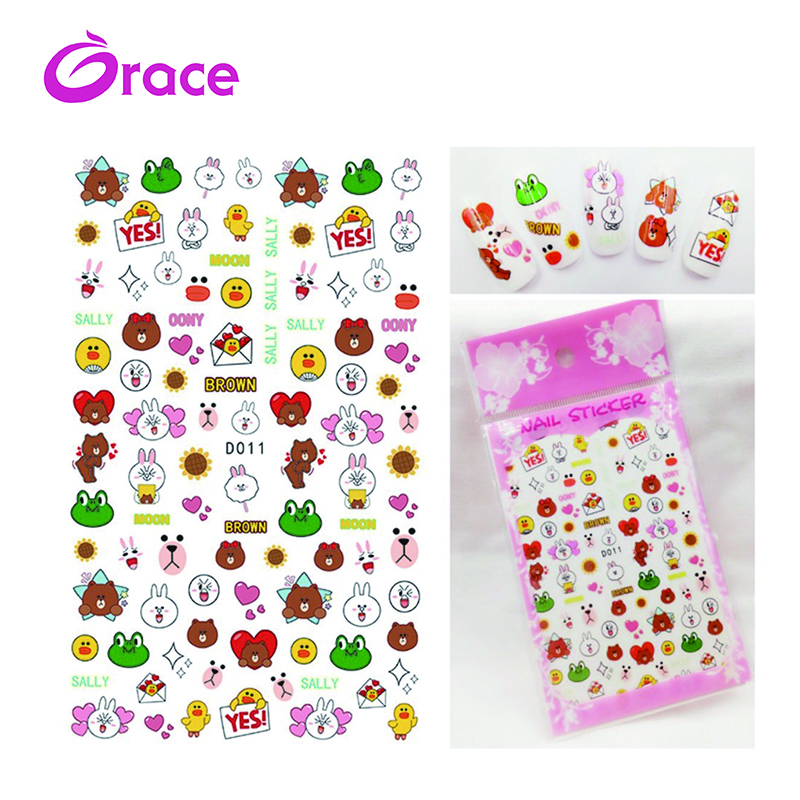 D011-020 Japan and Korea new cartoon nail stickers Japanese nail decals children manicure stickers