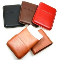 Smooth cow leather Sliding Business cards holder, unique design card case
