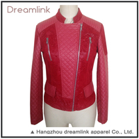 Women clothes red pu leather jacket,ladies jacket suits for sale
