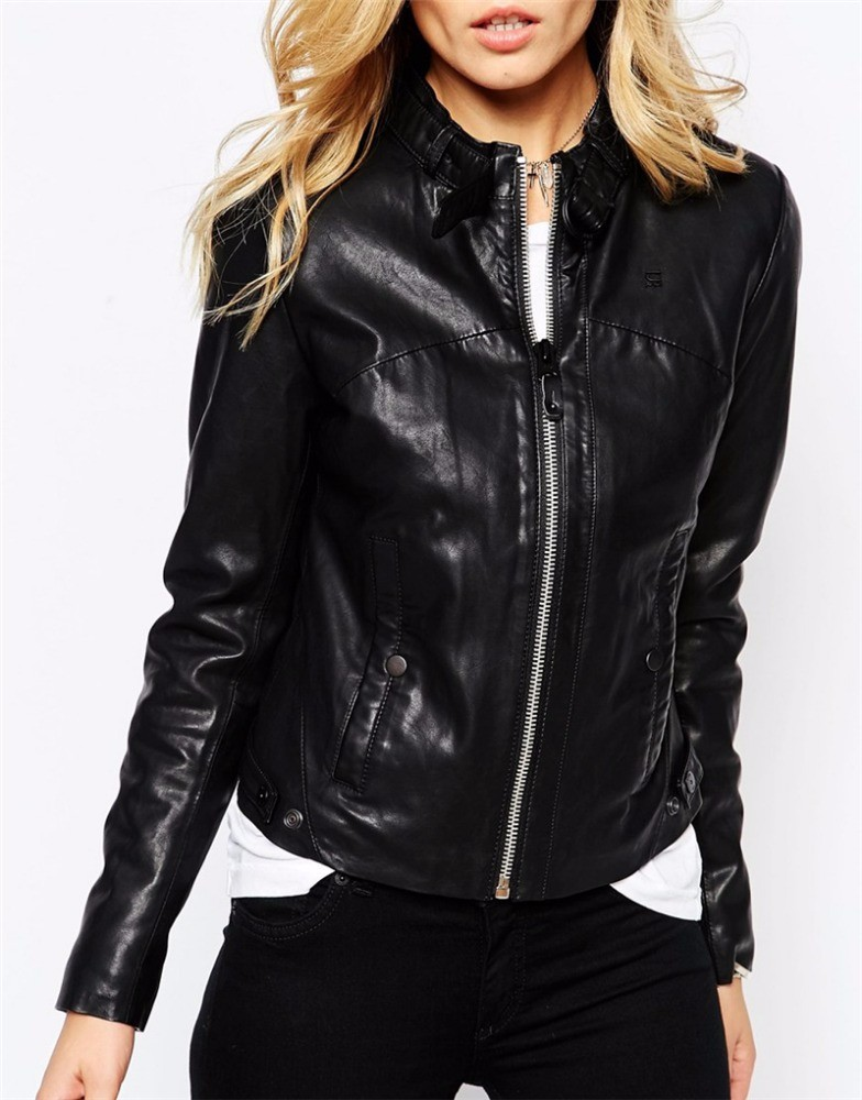 OEM Plus Size 4XL Motorcycle Pu Leather Coat Women Jackets Coats Outerwear Lady Black Washed PU Leather Jacket