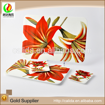 Modern style flower decal different size eco-friendly porcelain ceramic board