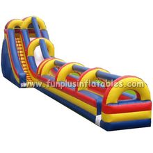 Commercial quality lead free long inflatable double lane slip slide F4088