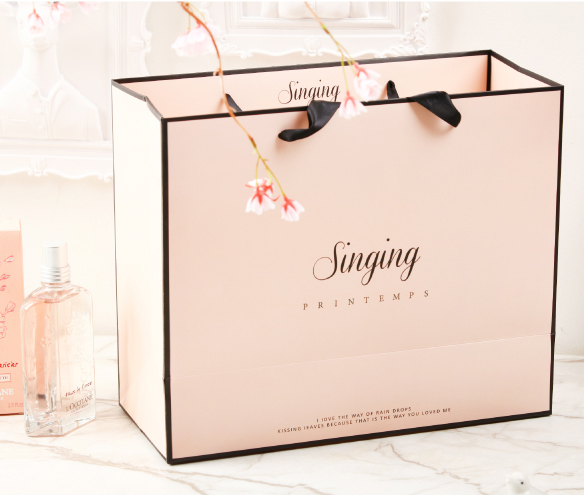 Pink Singing In The Rain Paper Shopping Bag With Your Own Logo