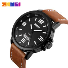 Vintage classic 5 atm water resistant brown leather quartz watches mens fashion watch skmei 9115