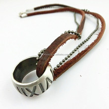 Fashion zinc alloy beads cowhide double chain circular punk hot-selling leather pendant necklace