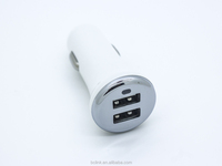 2 Port 2.1A dual electroplating usb car charger with led multiple For Android Mobile Phone Quick Charging iPhone 12v/24v