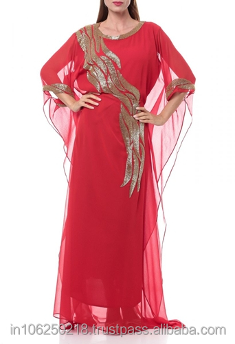 Egyptian muslim new designer kaftan evening robe hand made fashion style abaya women long dress islamic clothing k3002