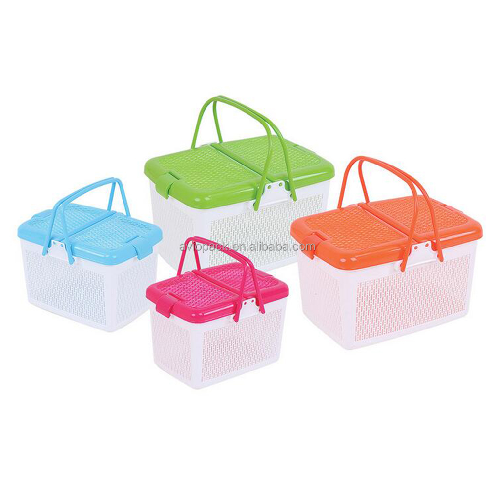 Charming design eco friendly colorful PP plastic handle basket