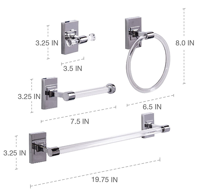 Square 4-Piece Clear Acrylic Bath Hardware Towel Bar Accessory Set