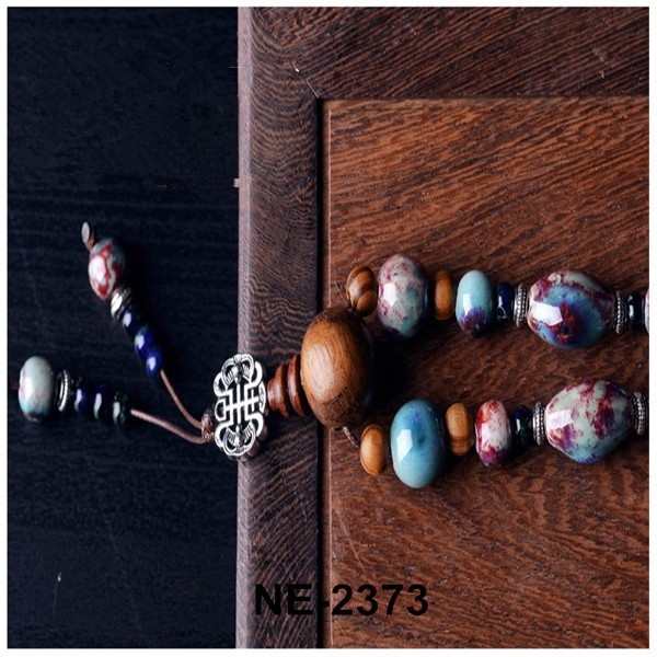 Ethnic Geometric Hand-make China Wind Ceramic Wood Beads Silver Plated Pendant Necklaces