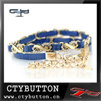 waist belt metal crystal belt with rivet and flower