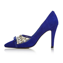 High quality blue suede rhinestone high heels shoes for lady